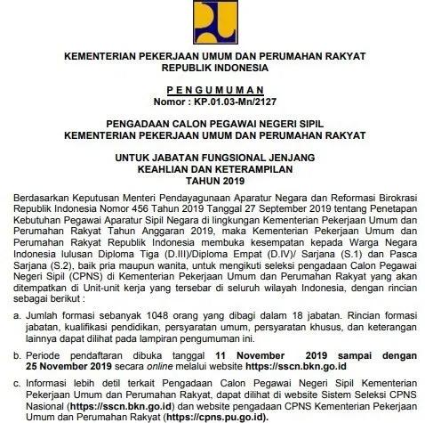 Rincian Formasi Cpns Pupr 2019 Seleksi Administrasi Jadwal Skd Skb