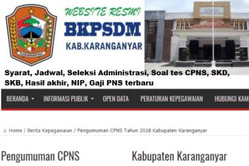 Pengumuman Hasil SKD CPNS KABUPATEN KARANGANYAR 2021