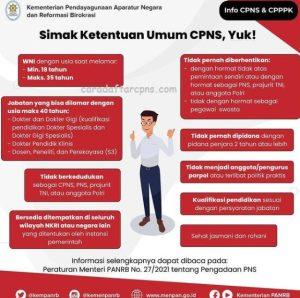 Ketentuan Umum CPNS 2021 Lulusan SMA SMK D3 S1 S2