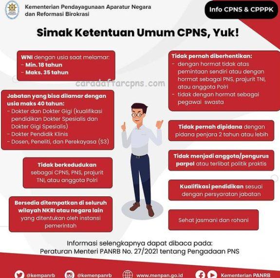 Ketentuan Umum CPNS 2021 Lulusan SMA SMK D3 S1 S2,