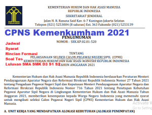 Hasil Seleksi Administrasi CPNS Kemenkumham 2021