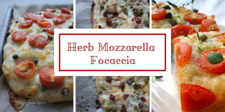 Easy Herb Mozzarella Focaccia recipe - the perfect savory snack or appetizer, easy to customize with your favorite toppings.