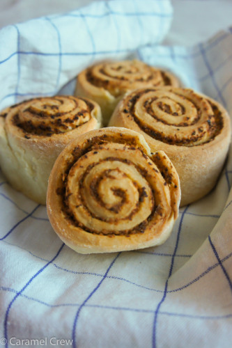 Savory rolls with a homemade red pesto sauce and parmesan cheese filling. Perfect for a savory snack or an appetizer that gives you the best of Mediterranean flavors.