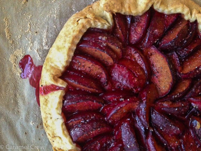 Simple, rustic country galette with flavorful plums and cardamom. Perfect for an effortless, beautiful and delicious dessert.