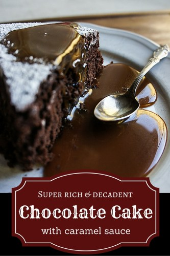 The best chocolate cake recipe ever - ultra-rich chocolate taste with a velvety soft texture, perfected by a buttery homemade caramel sauce. Pure chocolate pleasure.