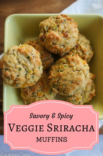 Spicy and savory veggie muffins with Sriracha sauce are tasty appetizers or delicious savory snacks that impress with their super moist texture and intense flavors.