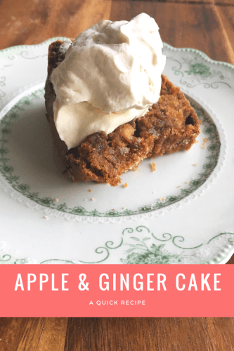 Easy coffee cake recipe for a delicious apple ginger cake that requires very little effort and is easy to customize with whatever you have in the kitchen.