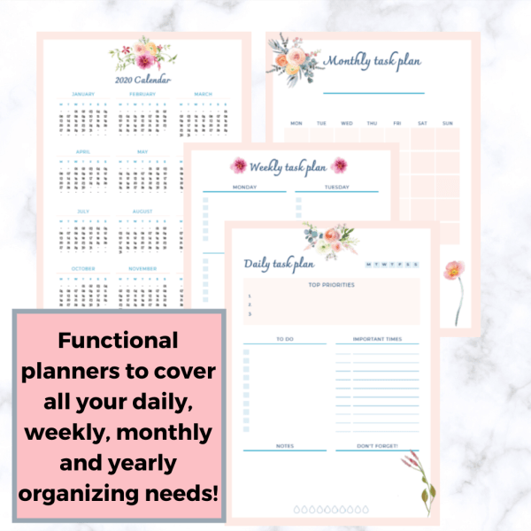 A set of daily, weekly, monthly and yearly printable planners to help you become better at organizing your tasks and becoming more productive.