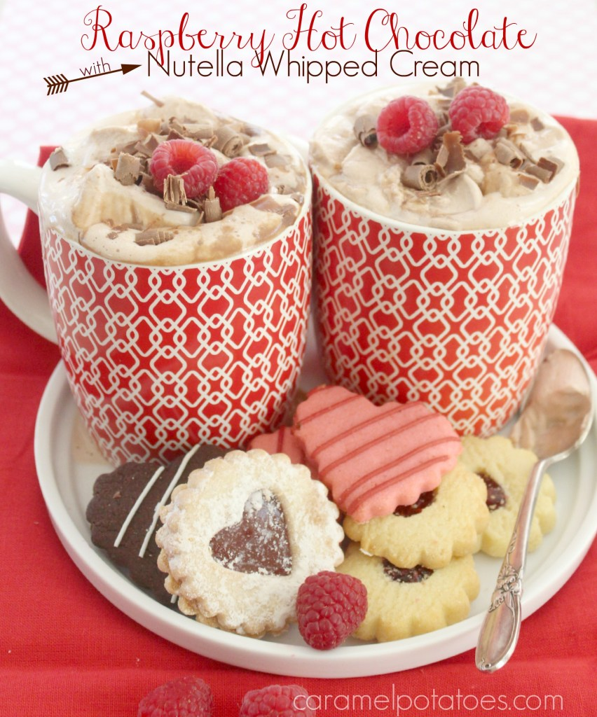 Raspberry Hot Chocolate with Nutella Whipped Cream