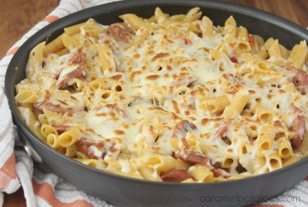 spicy pasta and sausage skillet