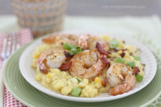 Fresh Corn Grits with Bacon and Shrimp