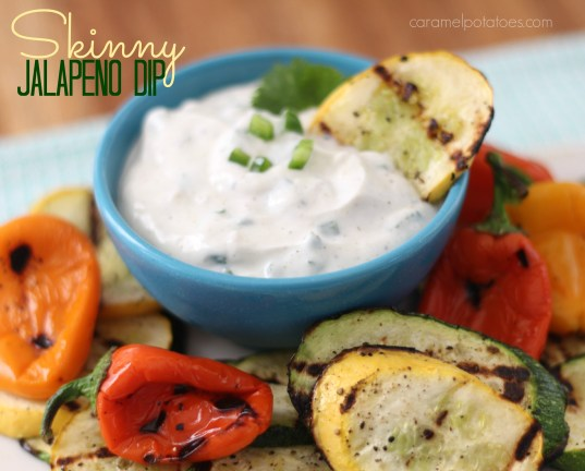 Skinny Jalapeno Dip with Grilled Summer Veggies