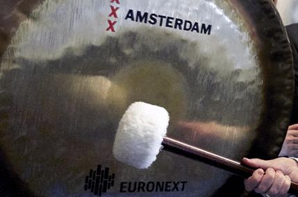 de Euronext gong wordt geslagen