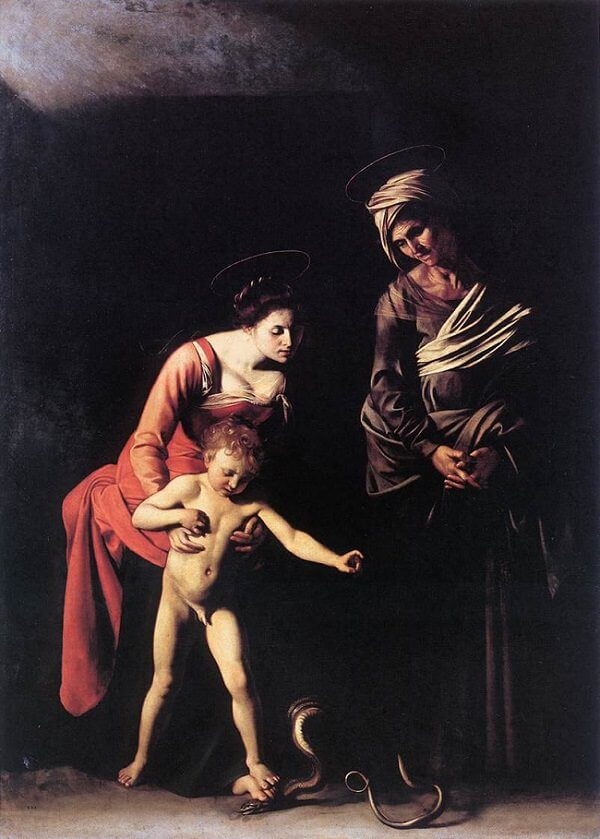 Madonna and child with st anne 1606 - by Caravaggio