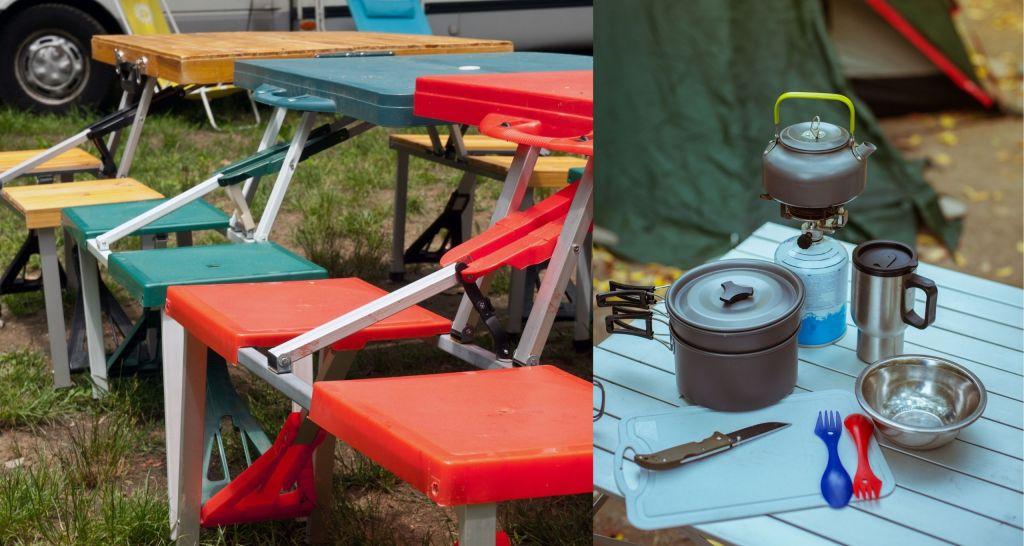 mesas plegables de camping