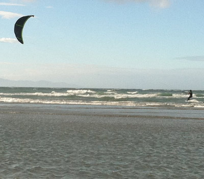 Kite surfing action shot