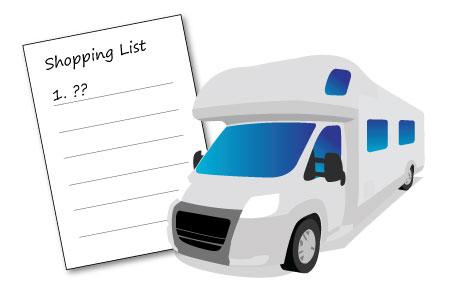 motorhome shopping list