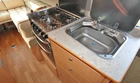 Devon Aztec motorhome kitchen and sink