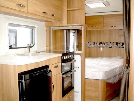 Swift Sprite Alpine 4 berth kitchen and bedroom