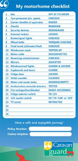 Motorhome pre-journey checklist sticker