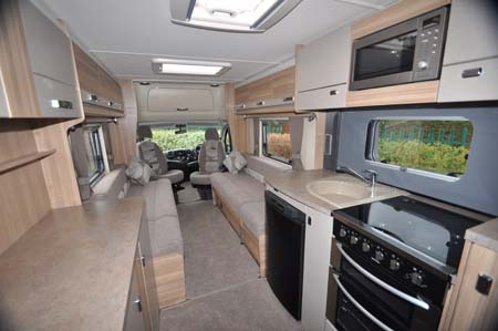 Bessacarr 442 motorhome kitchenette and living area