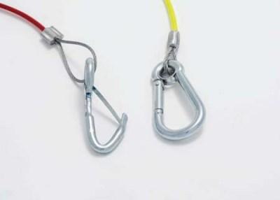 Spring & carabiner clip breakaway cables