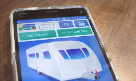 New Caravan Guard website, on smartphone