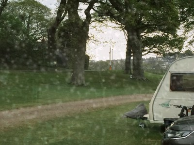 Caravan in the rain