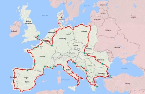 Europe trip map