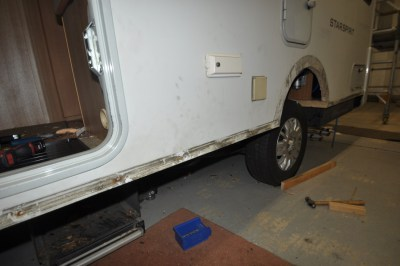 Motorhome damage caused by damp on sills1