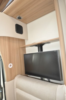 Knaus Sun Ti 700 MEG motorhome TV and shelf