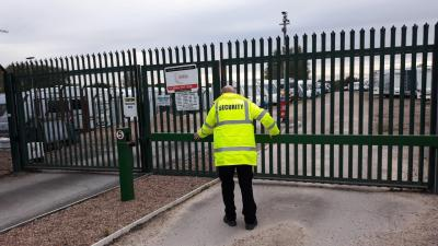 Security guard at secure storage site