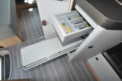 Roller Team Pegaso 590 motorhome kitchen drawers