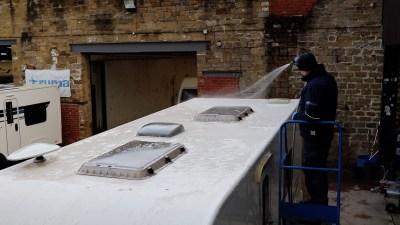 Caravan roof clean