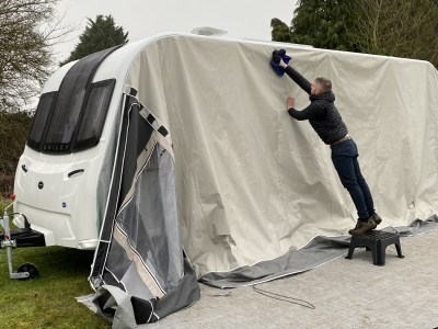 Clean your caravan awning roof