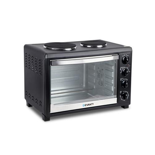 devanti 45 litre black convection oven with 2 hotplates