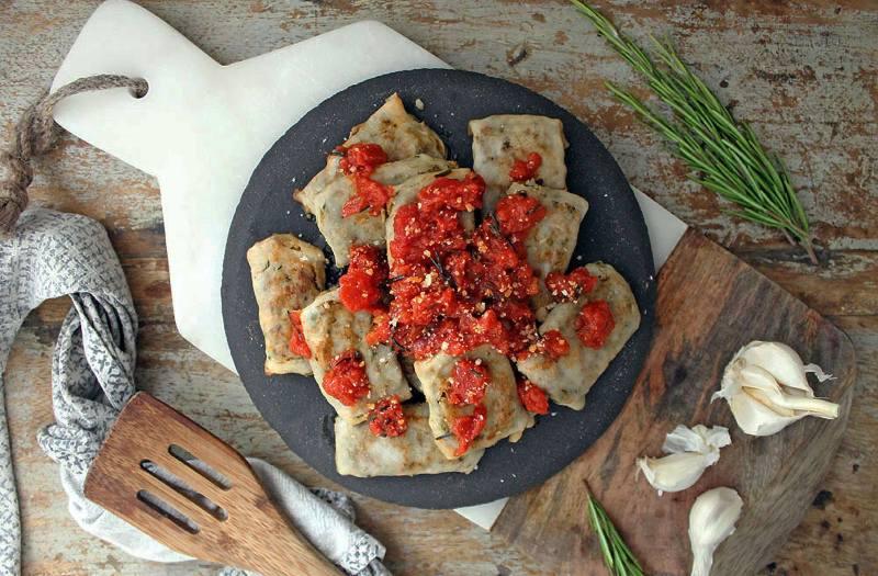 chicken and chorizo ravioli