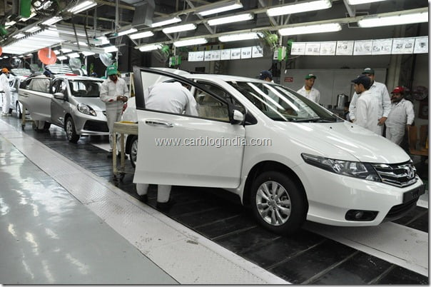 Honda City and Brio rolling out of the HSCI Greater Noida Plant