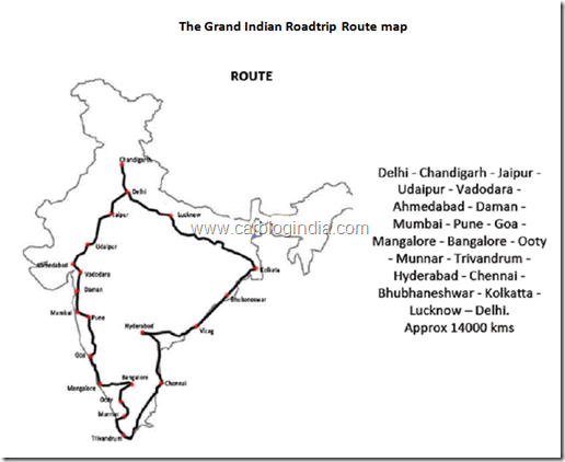 grand Indian Road Trip 2012 Route Map