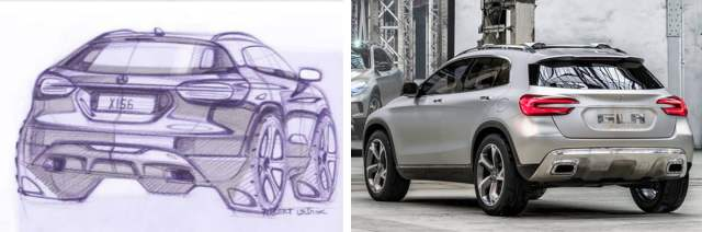Mercedes-Benz GLA Sketch vs. 2013 Mercedes-Benz GLA Concept