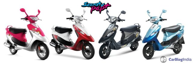 New TVS Scooty Pep Plus 2016 All Colours