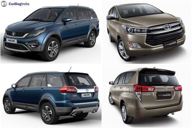 Tata Hexa vs Toyota Innova Crysta comparison