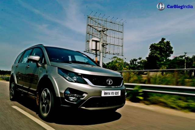 upcoming suv in india tata hexa test drive review images action front angle
