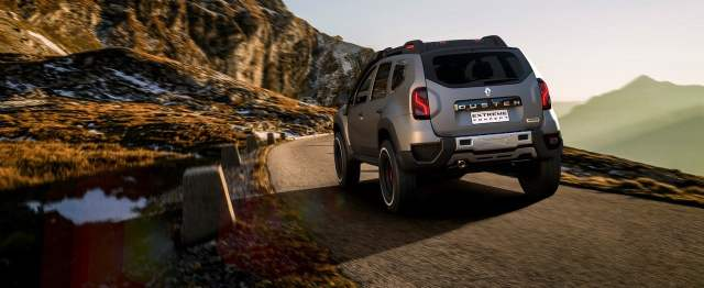 renault duster extreme concept rear three quarters action images