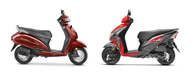 honda activa 4g vs honda dio 2017 side profile
