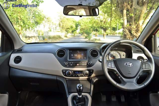 2017 hyundai xcent facelift test drive review interiors dashboard