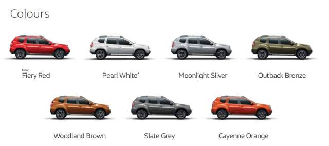 renault duster petrol automatic colours
