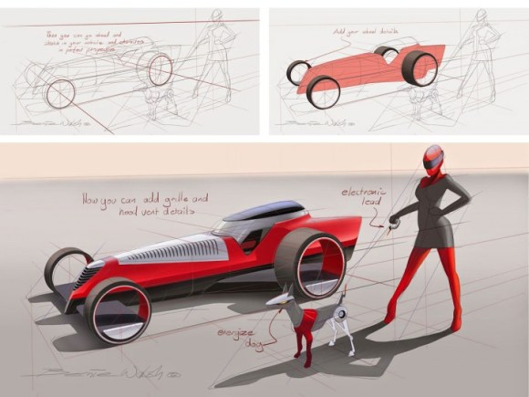 Car Sketching with SketchBook Pro 7 Perspective Tool - Car Body Design