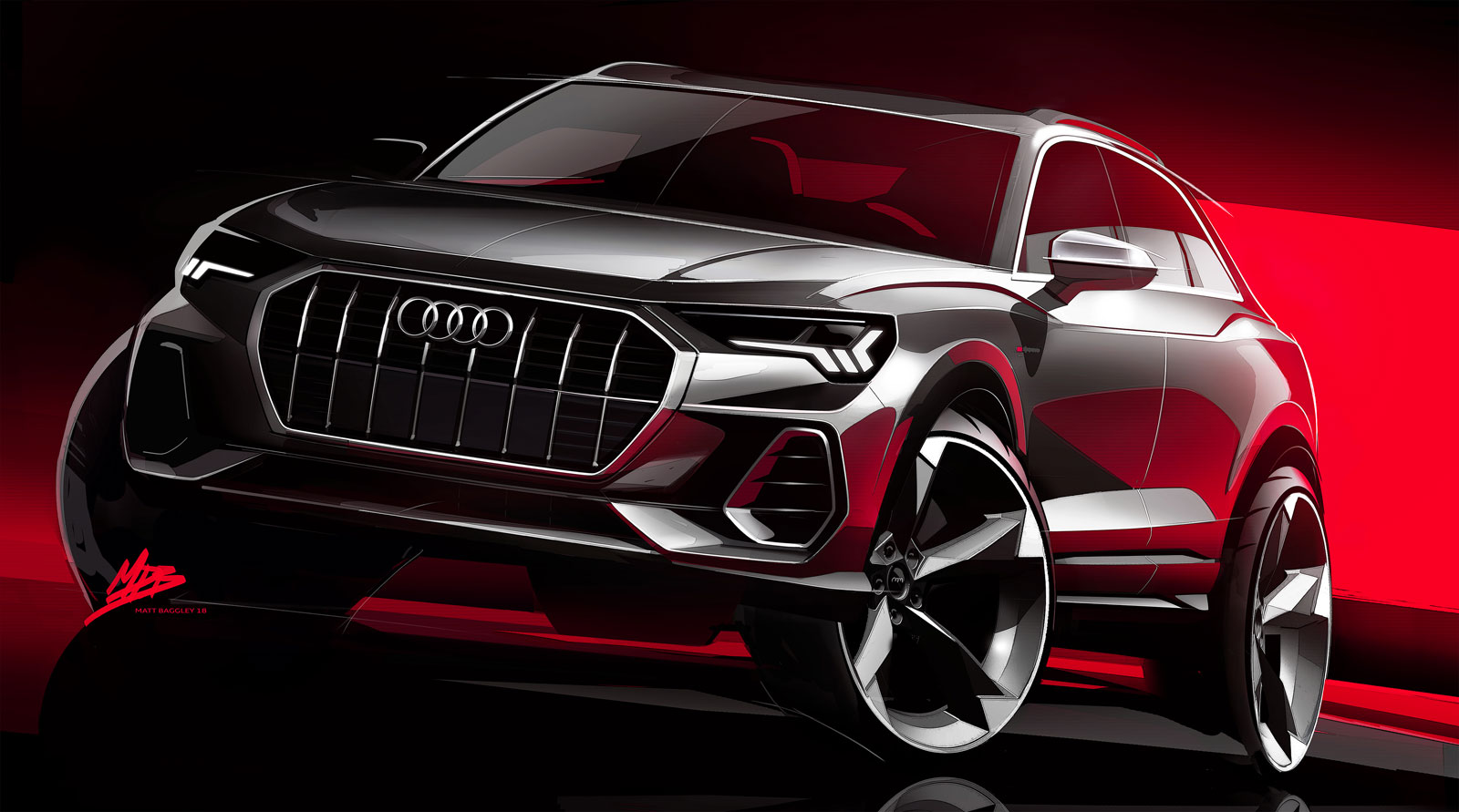 Audi Q3 Design Sketch Render Car Body Design