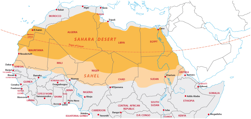 Image result for Sahel, Africa, map